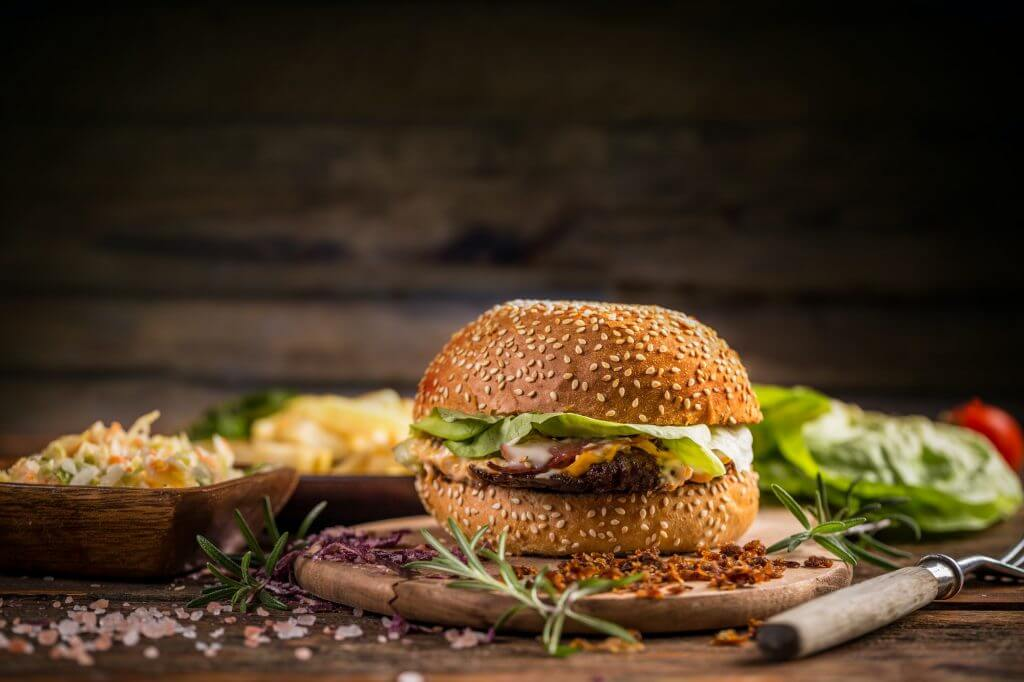 Burger in sesame bun