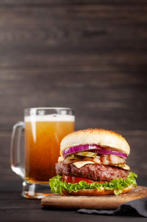 Homemade tasty beef burger and beer